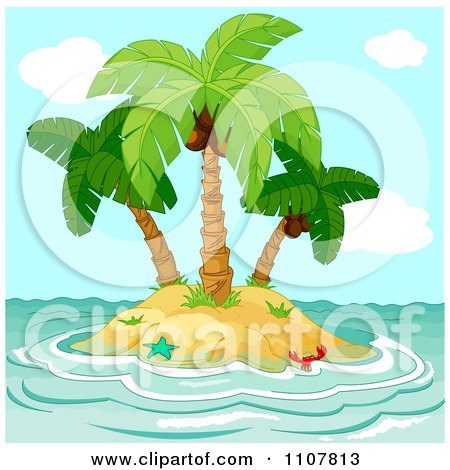 Clipart Small Tropical Island With Coconut Palm Trees And Choppy Surf - Royalty Free Vector Illustration by Pushkin