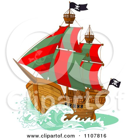 Clipart Pirate Ship With Red And Green Sails And Jolly Roger Flags - Royalty Free Vector Illustration by Pushkin