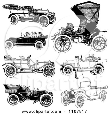 Clipart Retro Black And White Vintage Convertible Cars - Royalty Free Vector Illustration by BestVector