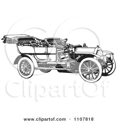 Clipart Retro Black And White Vintage Convertible Car 2 - Royalty Free Vector Illustration by BestVector