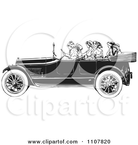 Clipart Women Riding In A Retro Black And White Vintage Convertible Car - Royalty Free Vector Illustration by BestVector
