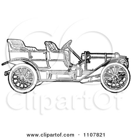 Clipart Retro Black And White Vintage Convertible Car 1 - Royalty Free Vector Illustration by BestVector