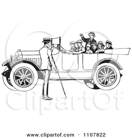 Clipart Family In A Retro Black And White Vintage Convertible Car - Royalty Free Vector Illustration by BestVector
