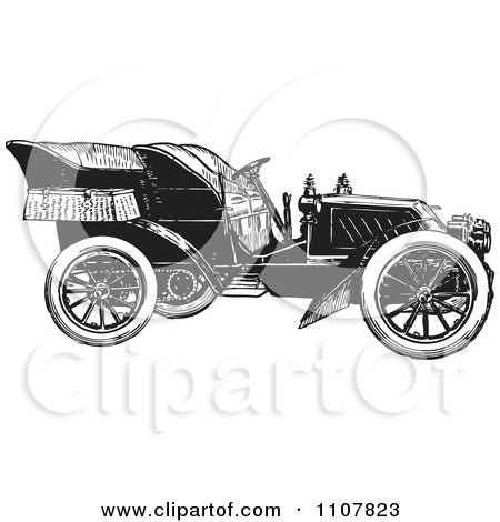 Clipart Retro Black And White Vintage Convertible Car 4 - Royalty Free Vector Illustration by BestVector