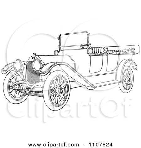 Clipart Retro Black And White Vintage Convertible Car 5 - Royalty Free Vector Illustration by BestVector