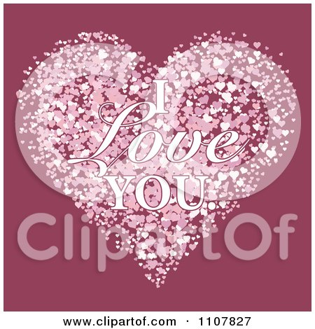 Clipart I Love You Text Over Pink With Hearts Forming A Larger Heart - Royalty Free Vector Illustration by BestVector