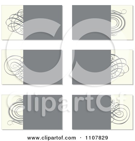 Clipart Beige And Gray Swirl Business Card Designs - Royalty Free Vector Illustration by BestVector
