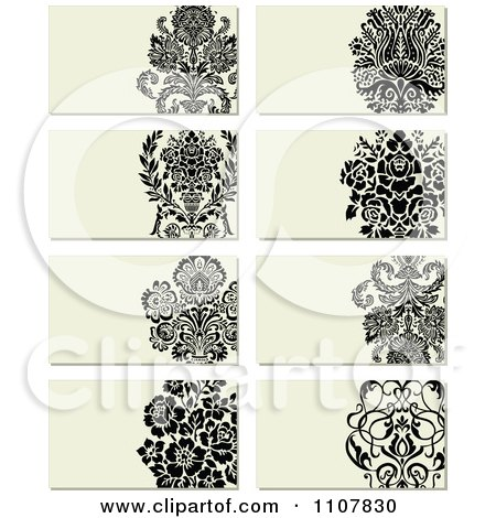 Clipart Victorian Floral Business Card Designs - Royalty Free Vector Illustration by BestVector