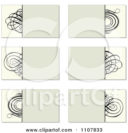Clipart Beige And Black Swirl Business Card Designs - Royalty Free Vector Illustration by BestVector