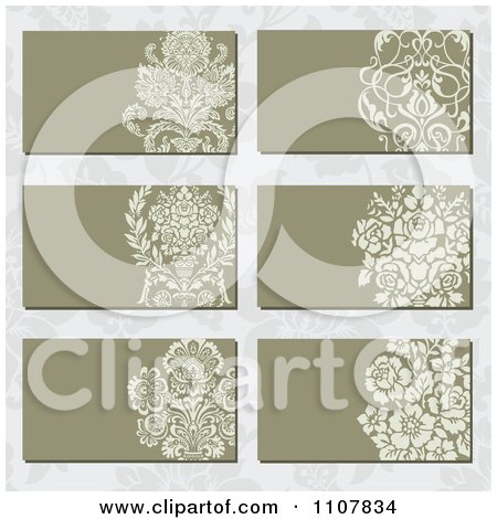 Clipart Victorian Floral Business Card Designs Over A Pattern - Royalty Free Vector Illustration by BestVector