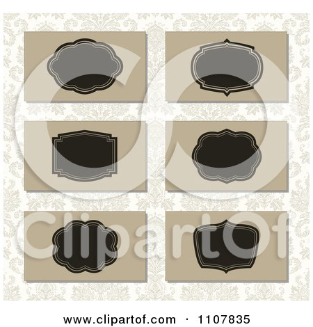 Clipart Tan And Black Business Card Designs Over A Pattern - Royalty Free Vector Illustration by BestVector