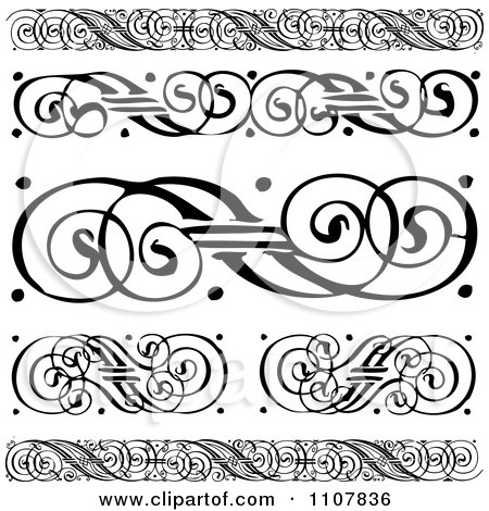 Clipart Black And White Swirl Borders And Rules - Royalty Free Vector Illustration by BestVector