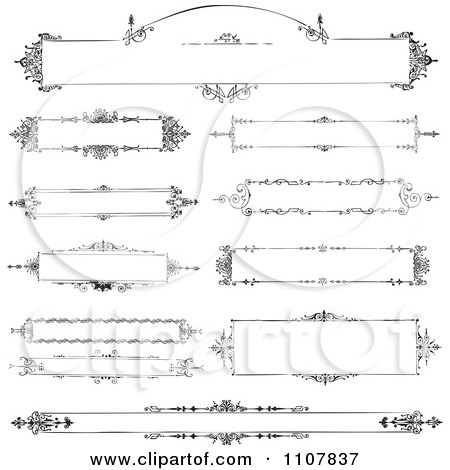 Clipart Vintage Victorian Black And White Frames 1 - Royalty Free Vector Illustration by BestVector
