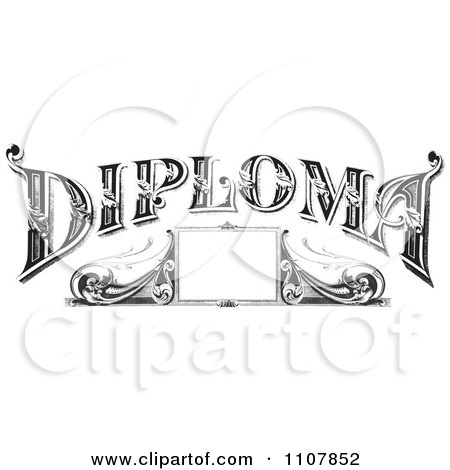Retro Black And White Vintage Diploma Frame And Text Posters, Art Prints