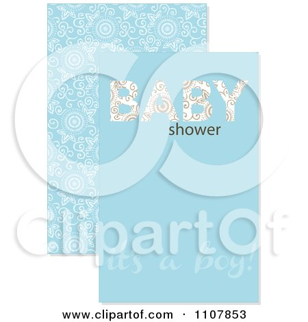 Clipart Blue Baby Boy Shower Design - Royalty Free Vector Illustration by BestVector