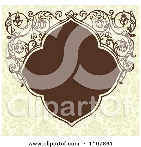 Clipart Brown Art Deco Frame With Floral Designs On A Pattern - Royalty Free Vector Illustration by BestVector