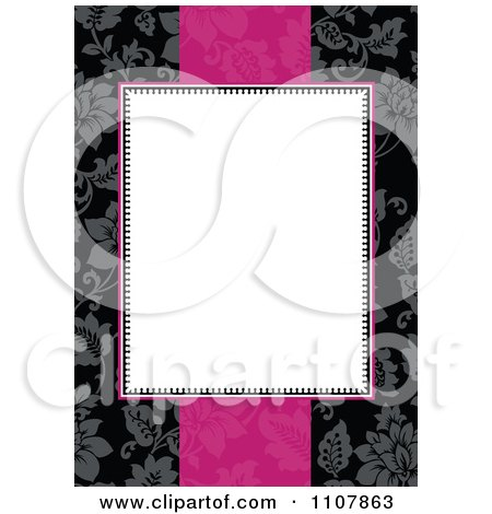 Clipart White Invitation Frame With Pink Over A Black Floral Pattern - Royalty Free Vector Illustration by BestVector