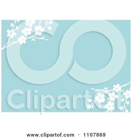 Clipart Blue And White Blossom Floral Invitation Background - Royalty Free Vector Illustration by BestVector