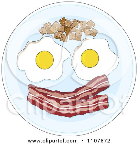 Clipart Eggs Potatoes And Bacon Forming A Happy Face On A Plate - Royalty Free Vector Illustration by Maria Bell