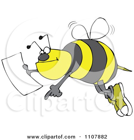 Clipart Bee Pointing And Holding A Map - Royalty Free Vector Illustration by djart