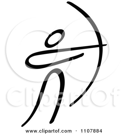 Clipart Black And White Stick Drawing Of An Archer - Royalty Free Vector Illustration by Zooco