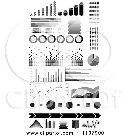 Clipart Black And White Informational Statistic Graphics - Royalty Free Vector Illustration by Andrei Marincas