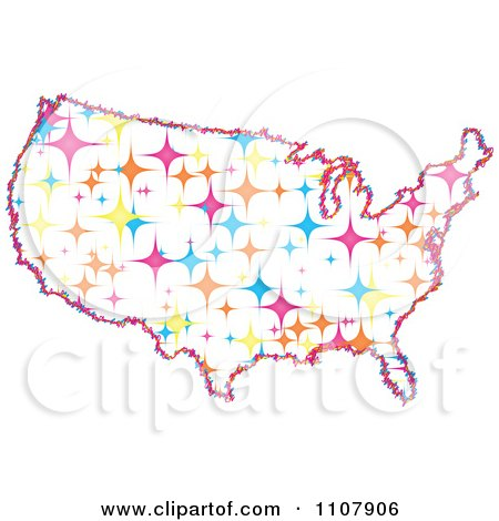 Clipart Colorful Sparkle Star United States Map - Royalty Free Vector Illustration by Andrei Marincas
