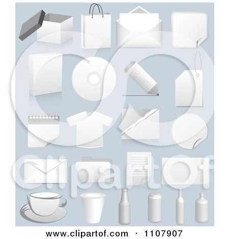 Clipart 3d Boxes Packaging Apparel And Items On Gray - Royalty Free Vector Illustration by Andrei Marincas