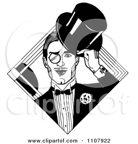 Clipart Black And White Art Deco Styled Dandy Gentleman With A Monocle And Top Hat - Royalty Free Illustration by LoopyLand