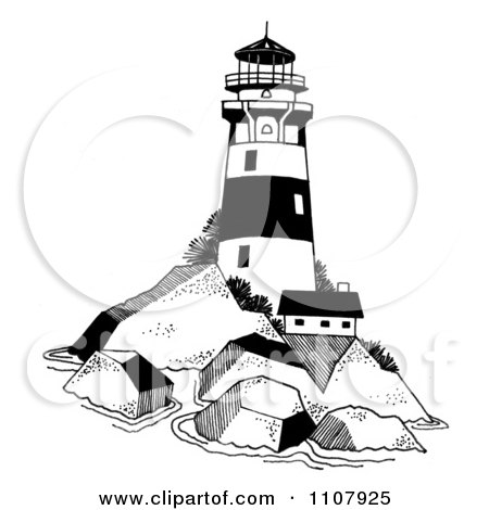Clipart Black And White Lighthouse On A Rocky Island - Royalty Free Vector Illustration by LoopyLand