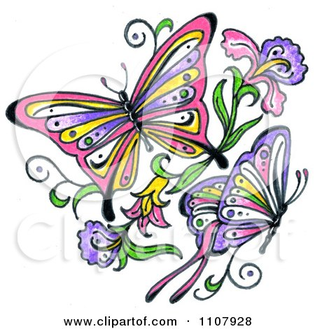 Clipart Colorful Asian Butterflies With Flowers - Royalty Free Illustration by LoopyLand