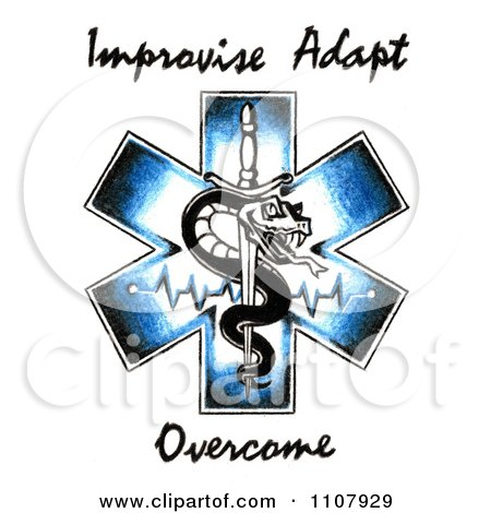 Clipart EMS Snake And Sword Symbol With Improvise Adapt Overcome Text - Royalty Free Illustration by LoopyLand