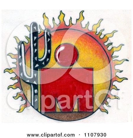 Clipart Ironman Arizona Sun And Cactus - Royalty Free Illustration by LoopyLand