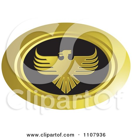 Clipart Oval Gold And Black Phoenix Icon - Royalty Free Vector Illustration by Lal Perera