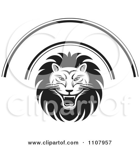 Clipart Black And White Roaring Lion Face And Arch - Royalty Free Vector Illustration by Lal Perera