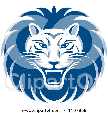 Clipart Blue Roaring Lion Face - Royalty Free Vector Illustration by Lal Perera