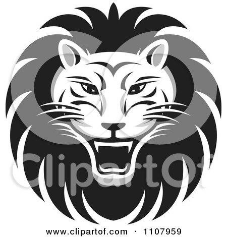 Clipart Black And White Roaring Lion Face - Royalty Free Vector Illustration by Lal Perera