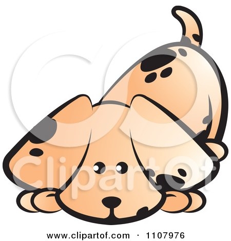 Clipart Cute Puppy Sniffing The Ground - Royalty Free Vector Illustration by Lal Perera
