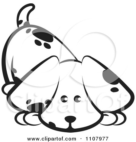 Clipart Cute Black And White Puppy Sniffing The Ground - Royalty Free Vector Illustration by Lal Perera