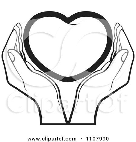 Clipart Hands Holding A Blue Heart - Royalty Free Vector Illustration by Lal Perera ...