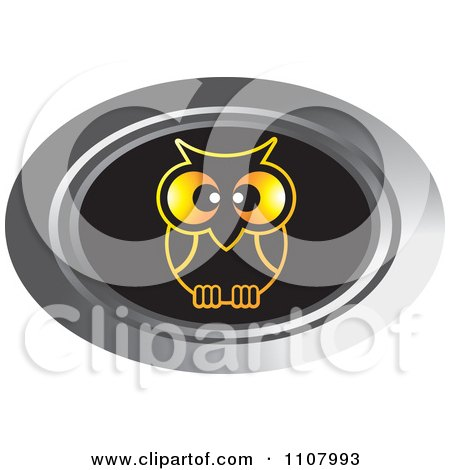 Clipart Oval Silver Gold And Black Owl Icon - Royalty Free Vector Illustration by Lal Perera
