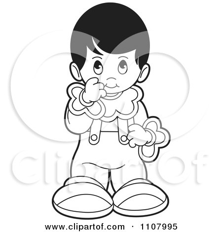 Clipart Outlined Shy Girl - Royalty Free Vector Illustration by Lal Perera