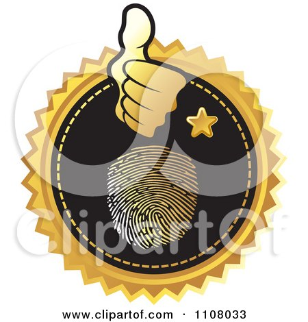 Clipart Gold And Black Thumb Print Identity Icon - Royalty Free Vector Illustration by Lal Perera