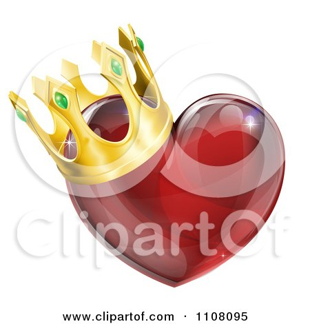 Clipart 3d Red Shiny Heart With A King Crown - Royalty Free Vector Illustration by AtStockIllustration