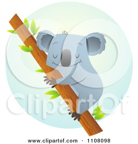 Clipart Happy Koala Hugging A Tree Over A Blue Circle - Royalty Free Vector Illustration by Qiun