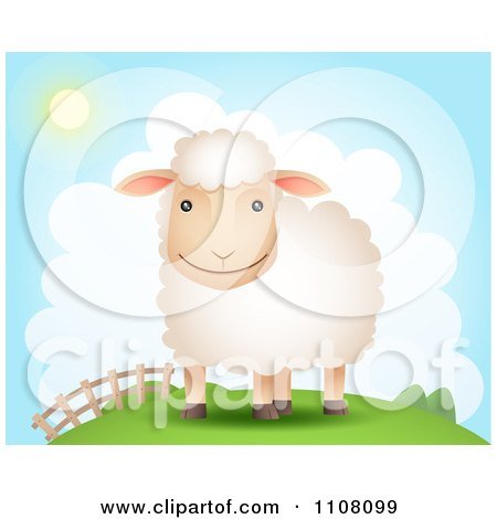 Clipart Happy Sheep On A Hill Near A Fence On A Sunny Day - Royalty Free Vector Illustration by Qiun
