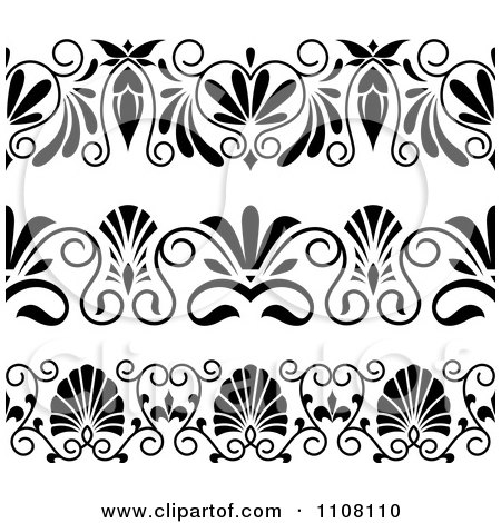Clipart black and white art deco border design elements royalty free vector illustration by - Design art black and white ...