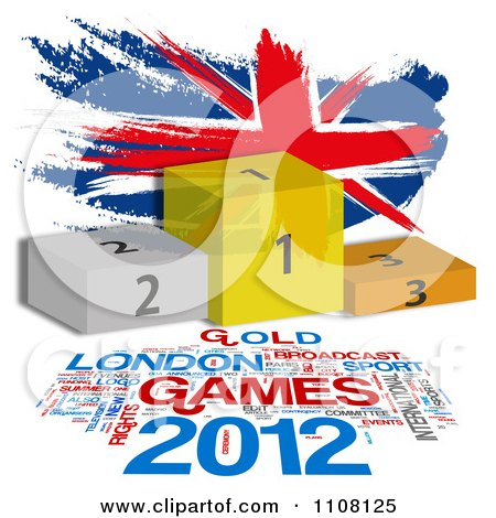 Clipart Painted Union Jack Flag With Placement Podiums And London Games Text - Royalty Free Illustration by MacX