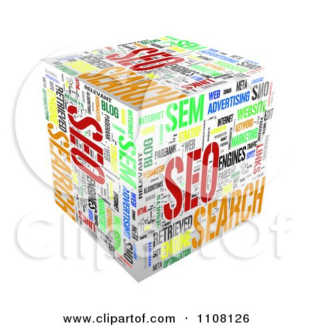 Clipart 3d Seo Cube With Words - Royalty Free Illustration by MacX