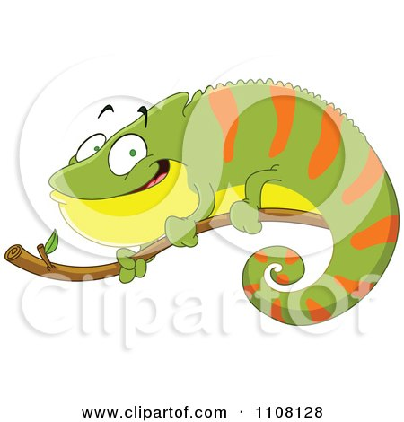 Clipart Happy Green And Orange Chameleon Lizard On A Branch Royalty Free Vector Illustration